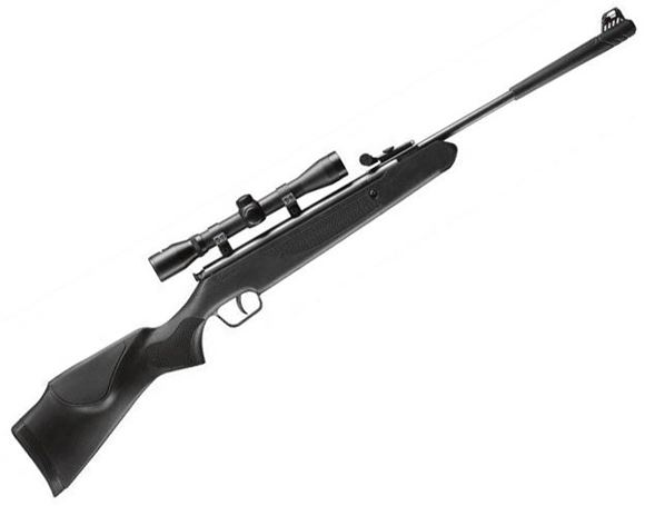 Picture of Stoeger Airguns X5 Single Shot Break Action Air Rifle - 177 Caliber, Black Synthetic Monte Carlo-Style Youth Stock, w/Fiber-Optic Sights & 4x32mm Scope, Under 495fps