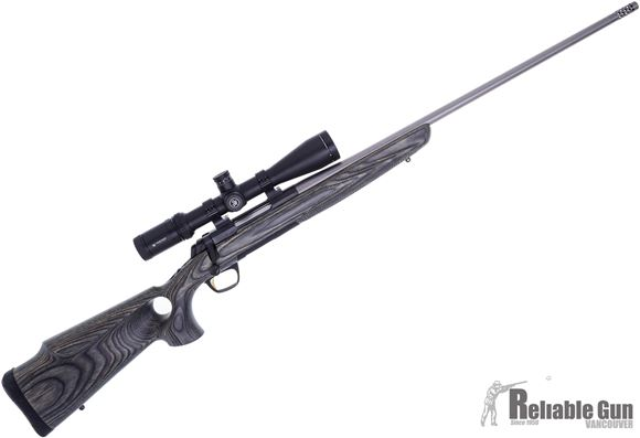"""Picture of Used Browning X-Bolt Eclipse Hunter Bolt Action Rifle - 308 Win, Vortex Viper HS 4-16x44mm, Talley Rings, 24"""", Sporter Contour, Matte Stainless, Muzzle Brake, Satin Laminate Thumbhole Grip Stock w/Monte Carlo Cheekpiece, 4rds, Adjustable Feather Trigger,"""