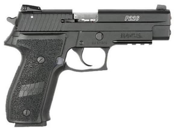 "Picture of SIG SAUER P226 SAO Rimfire Semi-Auto Pistol - 22LR, 4.4"", Nitron, Wood Grips, 2x10rds, White Dot Sights, Rail, Beavertail"