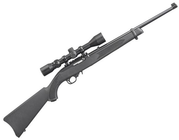 "Picture of Ruger 10/22 Semi Auto Rimfire Rifle - 22 LR, 18.5"", Blued, Simmons 3-9x40mm Scope, Comes w/ Ruger Hard Case"