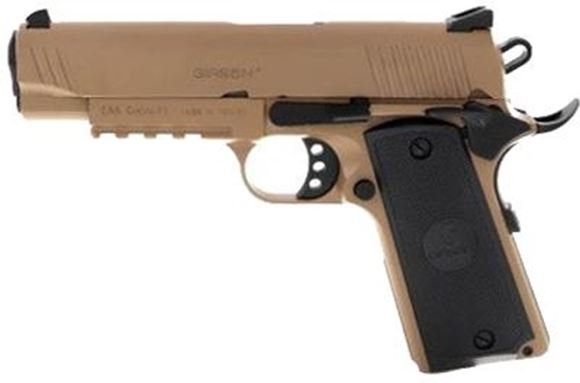 "Picture of Girsan MC 1911 Semi-Auto Pistol - 45 ACP, 4.25"", FDE, Picatinny Rail, Extended Beavertail, Black Checkered Grips, Ambidextrous Safety, White Dot Combat Sights, 2x8rds"