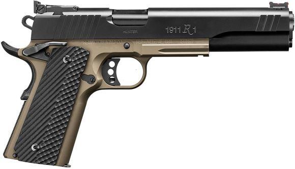 "Picture of Remington Model 1911 R1 Hunter Single Action Semi-Auto Pistol - 10mm, 6"", Match Grade Stainless Barrel & Bushing, Satin Black Oxide & FDE Frame, Laminate Hardwood Grip, 2x9rds, Fiber-Optic Front & Adjustable Rear Sights"