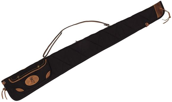 """Picture of Browning Gun Cases, Flexible Gun Cases - Lona Rifle Case, 52"""", Black/Brown, Heavy Duty Canvas, Leather Trim & Handle"""