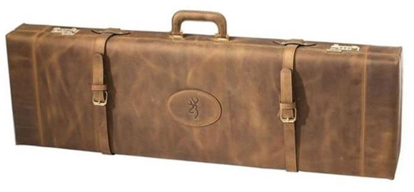 """Picture of Browning Gun Cases, Fitted Gun Cases - John M. Browning Signature Leather Over/Under Shotgun Takedown Case, 36"""" x 10"""" x 4.5"""", Wood Frame, Crazy Horse Distressed Leather & Top Grain Analine Leather Shell, Brass Trim, Magnetic Choke Tube Holder"""