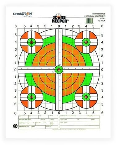 Picture of Champion, Traps & Targets - Score Keeper, Green & Orange, 100 Yard Rifle, Precision Sight-in