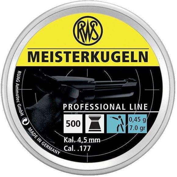 Picture of RWS Rottweil Professional Line Sports Air Gun Pellets - RWS Meisterkugeln, 177 Caliber (4.5mm), 7Gr (0.45 g), High Velocity, 500ct Tin Can