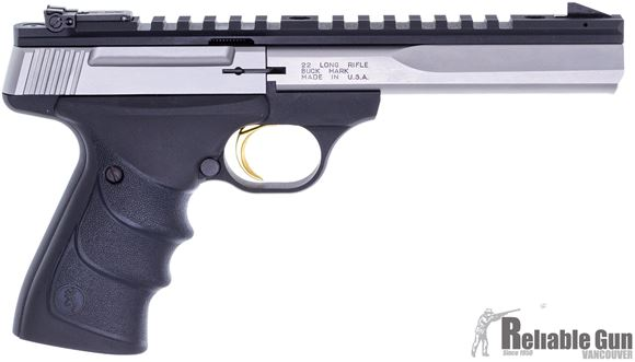 "Picture of Used Browning Buck Mark Contour Stainless Rimfire Semi-Auto Pistol - 22 LR, 5-1/2"", Special Contour, Polished Flat w/Full-Length Picatinny Rail, Origonal Case, 2x10rds, Excellent Condition"