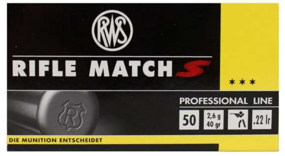 Picture of RWS Rottweil Professional Line Sports Rimfire Ammo - Rifle Match S, 22 LR, 40Gr, Solid, Supersonic, 50rds Box