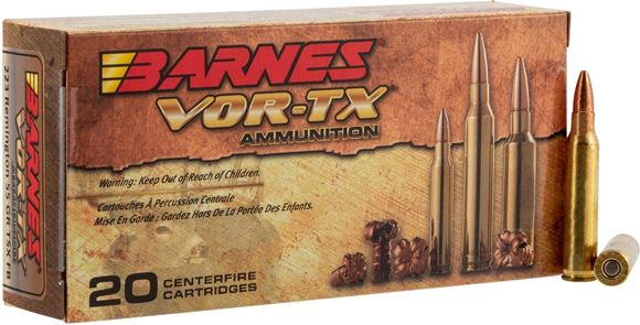 Picture of Barnes VOR-TX Premium Hunting Rifle Ammo - 5.56x45mm, 62Gr, TSX, 20rds Box