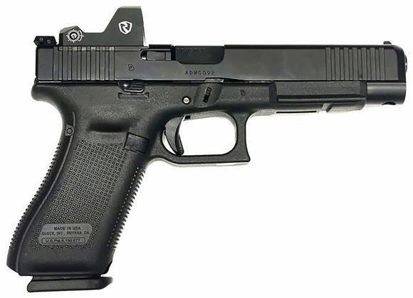 "Picture of Glock 34 Gen5 MOS Optic Kit Semi-Auto Pistol - 9mm, 5.31"", Black, Adjustable Rear Sight w/ Red Dot Optic Kit (Riton X3 Tactix PRD), 3x10rds"