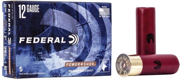 "Picture of Federal Power-Shok Shotgun Ammo - 12Ga, 3"", 76mm, 15 Pellet, 00 Buck, 5rds Box"