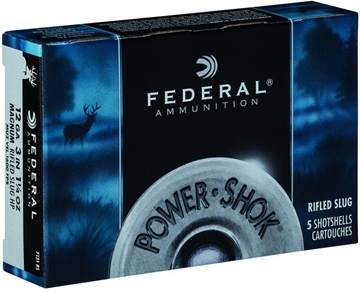 "Picture of Federal Power-Shok Shotgun Ammo - 12Ga, 3"", 76mm, 1-1/4oz, 35gr, Magnum Rifled Slug HP, 5rds Box"