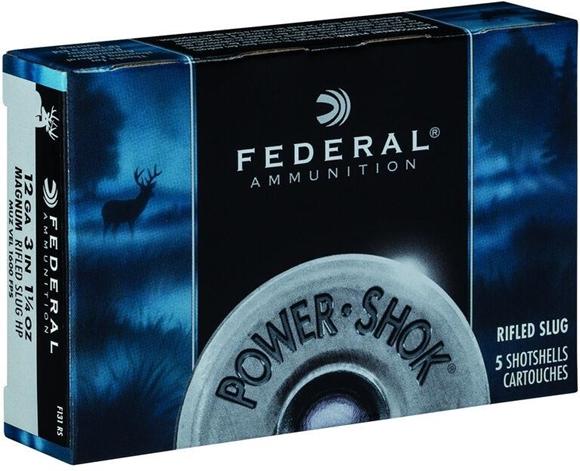 "Picture of Federal Power-Shok Shotgun Ammo - 12Ga, 3"", 76mm, 1-1/4oz, 35gr, Magnum Rifled Slug HP, 5rds Box"