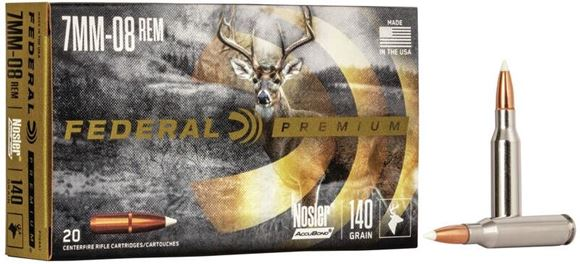Picture of Federal Premium Medium Game Rifle Ammo - 7mm-08 Rem, 140Gr, Nosler Accubond, 20rds Box, 2850fps
