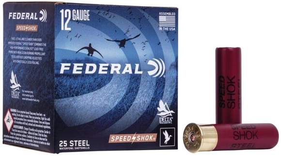 "Picture of Federal Speed-Shok Waterfowl Load Shotgun Ammo - 12Ga, 3-1/2"", 1-1/2oz, BB, Steel, 1500fps, 250rds Case"