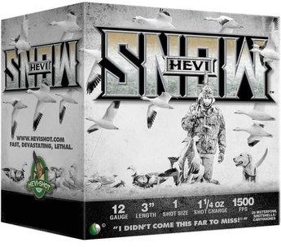 "Picture of HEVI-Shot HEVI-Snow Waterfowl Shotgun Ammo - 12ga, 3"", #1, 1-1/4oz, 1500fps, 250rds Case"
