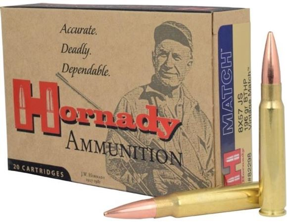 Picture of Hornady Vintage Match Rifle Ammo - 8x57 JS, 196gr, BTHP, 20rds Box