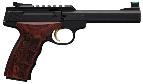 """Picture of Browning Buck Mark Plus Rosewood UDX Semi-Auto Rimfire Pistol - 22 LR, 5.5"""", Polished Flats Matte Black Receiver & Barrel, Rosewood Grips, 10rds, TruGlo Fiber Optic Front & White Outline Pro-Target Rear Sight"""