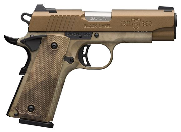 """Picture of Browning 1911-380 Speed Single Action Semi-Auto Pistol - 380 ACP, 4-1/4"""", Cerakote Burnt Bronze Stainless Slide, Composite Frame w/ A-TACS AU Camo, A-TACS AU Camo Grips, 8rds, Combat White Dot Front & Rear Sights"""