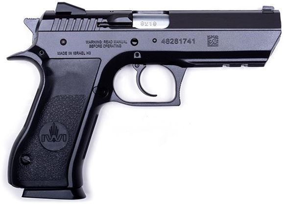 "Picture of IWI Jericho 941 F DA/SA Semi Auto Pistol - 9mm, 4.5"", Black, Steel Frame & Slide, Plastic Grips, 2x10rds, Combat Type White 3-Dot Fixed Sights"