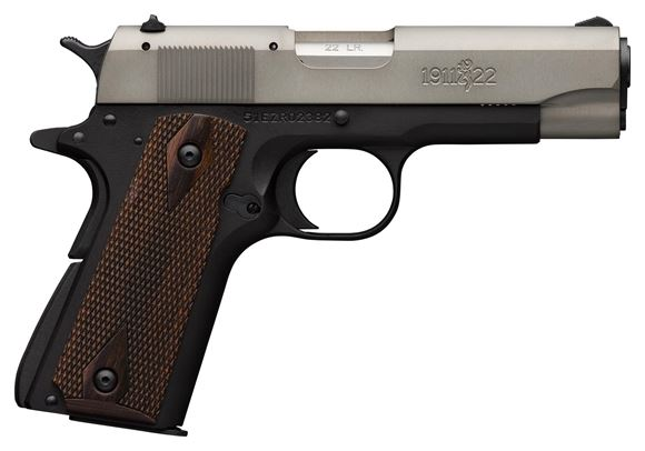 "Picture of Browning 1911-22 A1 Gray Rimfire Single Action Semi-Auto Pistol - 22 LR, 4-1/4"", Matte Gray Anodized Finish Slide, Matte Black Alloy Frame, Diamond Walnut Grip Panels, 10rds, Fixed Sights"