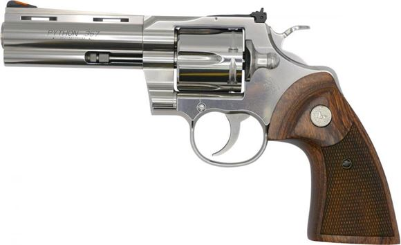 "Picture of Colt Python SA/DA Revolver - 357 Mag, 4.25"" Barrel, Stainless Steel, Walnut Target Grips, 6rds"