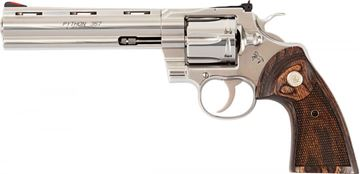 "Picture of Colt Python DA Revolver - 357 Mag, 6"" Barrel, Stainless Steel, Walnut Target Grips, 6rds"