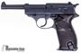 Picture of Used Walther P38 Semi-Auto 9mm, 1943 Mfg., Re-Blued, Waffenampts Intact, With British Proof Marks, One Mag & Leather Holster, Good Condition