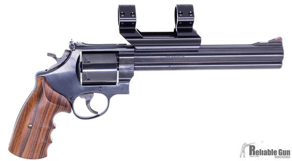 "Picture of Used Smith & Wesson Model 29.5 Classic Hunter Double Action Revolver, 44 Rem Mag, 8 3/8"" Blued Barrel, Unfluted Cylinder, Holden Ironsighter 1"" See Through Scope Mount, 1989 Production, Good Condition"