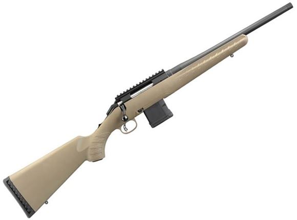 """Picture of Ruger American Ranch Bolt Action Rifle - 5.56mm NATO/223 Rem, 16.12"""", 1/2""""-28 Threaded, Matte Black, Alloy Steel, Flat Dark Earth Composite Stock, 5rds AR Mag, AR Style Mag Release, Picatinny Rail"""