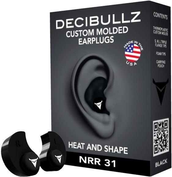 Picture of Decibullz Custom Molded Earplugs - 31dB NRR, Re-Moldable Thermoplastic, Black