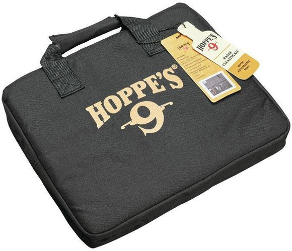 Picture of Hoppe's No. 9, Range Cleaning Kit w/ Mat - Range Kit Bag, Cleaning Mat, Phosphor Bronze & Nylon Utility Brushes, Cleaning Rod, 223 Brush, 22/9mm/40/10mm/45 Bronze Brush, Patches, Cleaning Picks