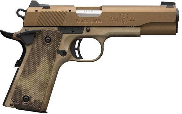 """Picture of Browning 1911-22 Speed SA Semi-Auto Pistol - 22 LR, 4-1/4"""", Cerakote Burnt Bronze Stainless Slide, Composite Frame w/ A-TACS AU Camo, A-TACS AU Camo Grips, 2x10rds, Combat White Dot Front & Rear Sights"""