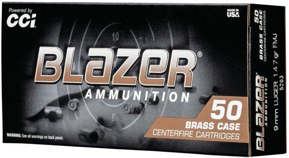 Picture of CCI Blazer Brass Handgun Ammo - 9mm Luger, 147Gr, FMJ, 50rds Box