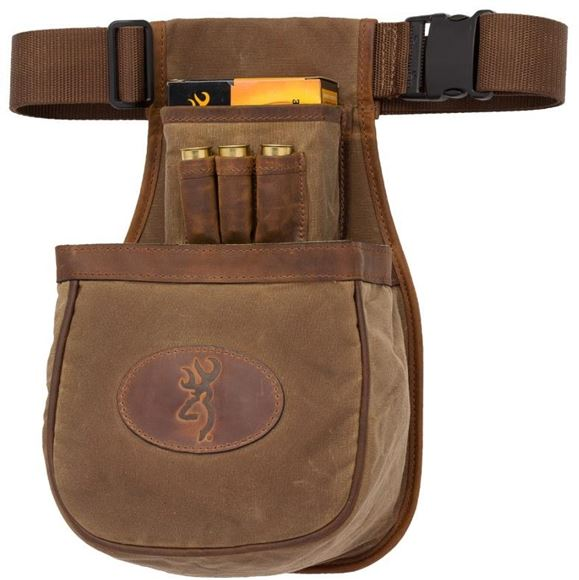 Picture of Browning Shooting Accessories, Bags & Pouches - Santa Fe Pouch Shell Carrier, Single Box, Deluxe Trap, Quick Release Belt, Wax Cotton Canvas w/ Crazy Horse Leather Trim