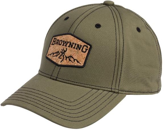 Picture of Browning Hats - OD Green w/ Black Stitching, Cork Browning Logo, Snap-Back