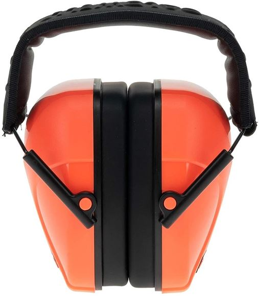 Picture of Caldwell Shooting Supplies Hearing & Eye Protection - Youth Earmuffs, 24dB NRR, Lightweight & Padded Protection, Low Profile Design, Hot Coral Color (Orange-Pink)