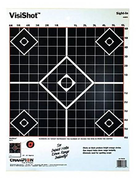 """Picture of Champion Targets, Interactive, VisiShot Targets - VisiShot Sight-In, 13""""x18"""", 10 Pack"""