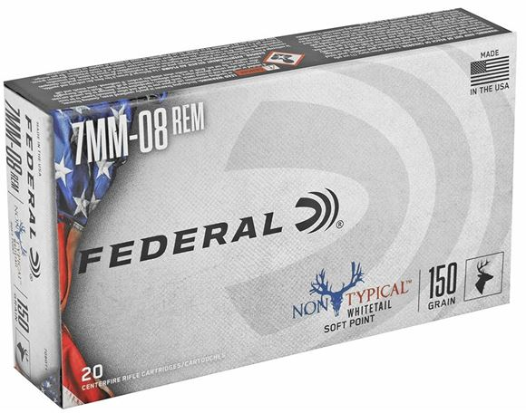 Picture of Federal Non-Typical Whitetail Rifle Ammo - 7mm-08 Rem, 150Gr, SP, 20rds Box
