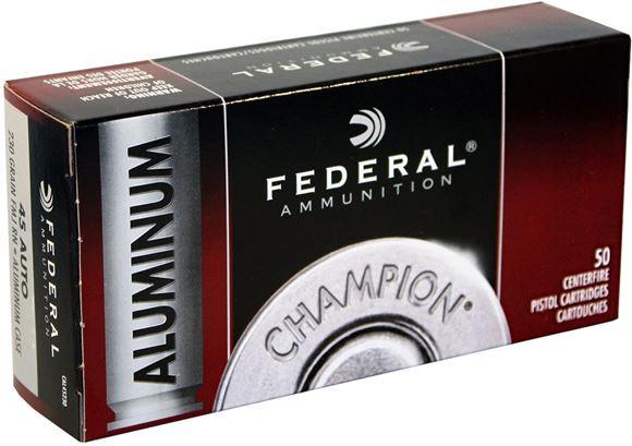 Picture of Federal Champion Aluminum Handgun Ammo - 45 Auto, 230Gr, FMJ RN, Aluminum Case, 50rds Box