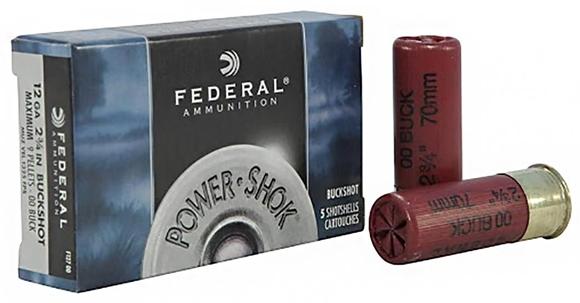 "Picture of Federal Power-Shok Shotgun Ammo - 12Ga, 2-3/4"", 70mm, Magnum, 12 Pellets, 00 Buck, 250rds Case"