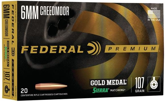 Picture of Federal Premium Gold Medal Sierra Rifle Ammo - 6mm Creedmoor, 107Gr, Gold Medal Sierra Matchking, 20rds Box, 3000fps
