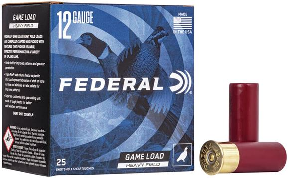 """Picture of Federal Game-Shok Upland Heavy Field Load Shotgun Ammo - 12Ga, 2-3/4"""", 3-1/4DE, 1-1/4oz, #6, 25rds Box, 1220fps"""