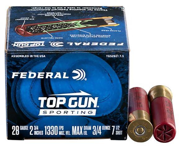 Picture of Federal Top Gun Sporting Clay Shotgun Ammo - 28ga, 2-3/4, Max DE, 3/4 oz., #7.5, 250rds Case