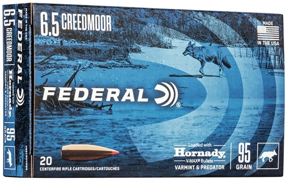 Picture of Federal Rifle Ammo - 6.5 Creedmoor, 95gr Hornady V-Max Bullet, 20rds Box