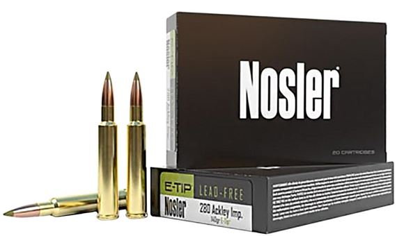 Picture of Nosler E-Tip Rifle Ammo - 280 Ackley Improved, E-Tip, 140Gr, Lead-Free, 20rds Box