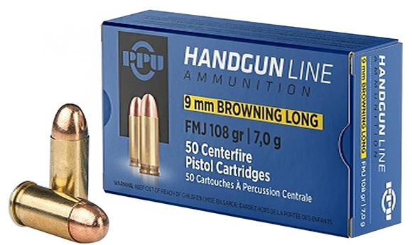 Picture of Prvi Partizan (PPU) Handgun Ammo - 9mm Browning Long, 108Gr, FMJ, 50rds Box