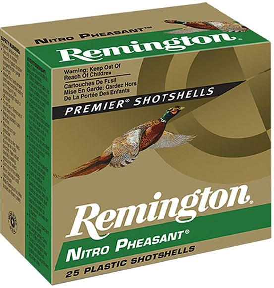 "Picture of Remington Upland Loads, Nitro Pheasant Load Shotgun Ammo - 20Ga, 3"", MAX DE, 1-1/4oz, #6, Copper-Plated, 250rds Case, 1185fps"