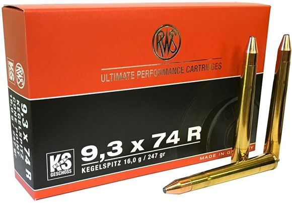 Picture of RWS Rottweil Kegelspitz Hunting Rifle Ammo - 9.3x74R, 247Gr, Cone Point, 20rds Box