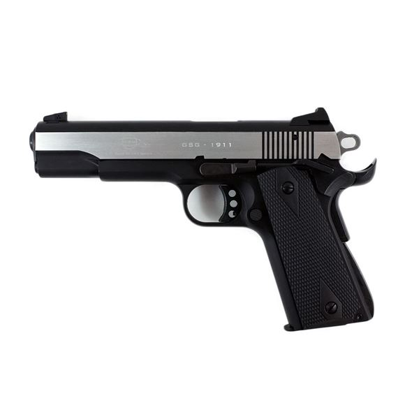 "Picture of German Sport Guns (GSG) 1911 Stainless Rimfire Single Action Semi-Auto Pistol - 22 LR, 5"", Silver/Black Alloy Slide, Wood Grips, 10rds"